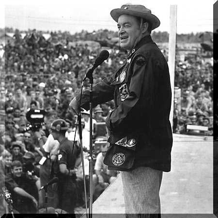 Bob Hope, Classic Movie Actor, entertaining troops in Vietnam