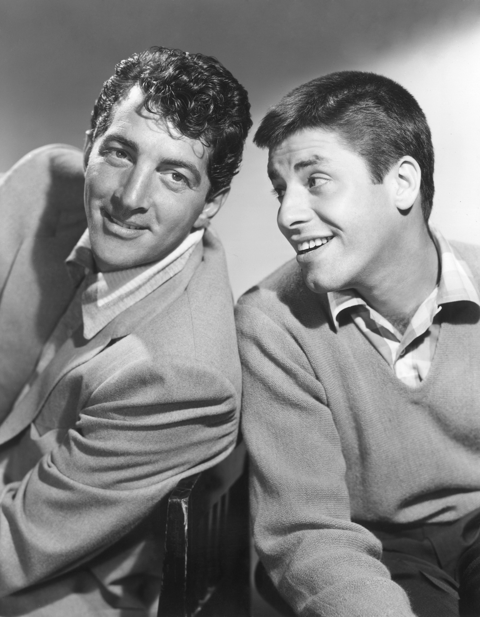 1953: American comic team Dean Martin and Jerry Lewis smiling promotional portrait for The Colgate Comedy Hour