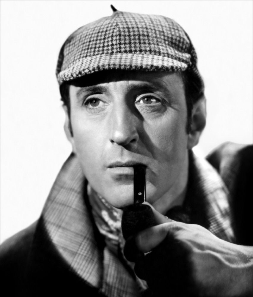 Basil Rathbone, Classic Movie Actor,  as Sherlock Holmes in The Hound of the Baskervilles, Sidney Lanfield