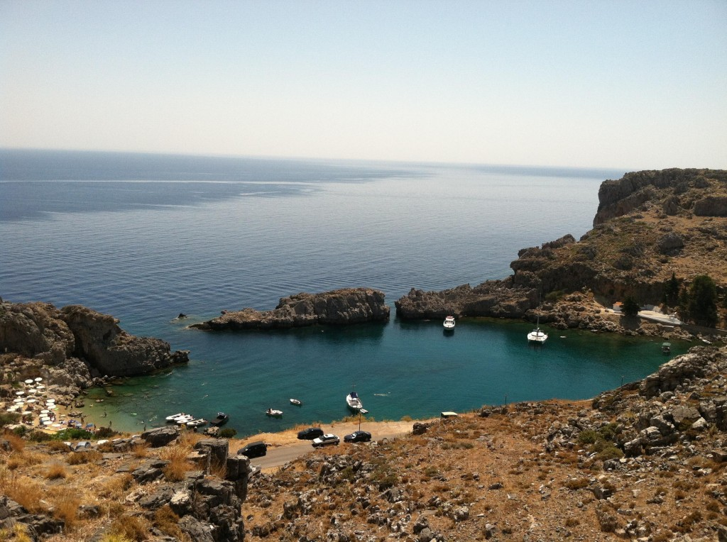 Rhodes Island, Greece, just outside of Lindos where they filmed The Guns of Navarone (directors J. Lee Thompson, Alexander Mackendrick) starring David Niven, Gregory Peck and Anthony Quinn