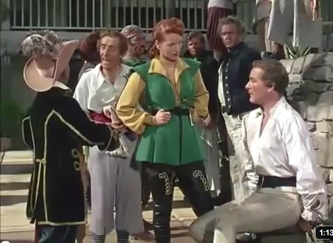 Maureen O'Hara and Errol Flynn in Against All Flags, director  George Sherman