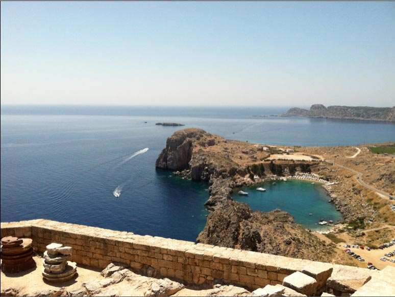 View of Cliffs and Beach Guns of Navarone site from The Acropolis, Lindos