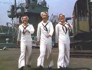 Frank Sinatra, Jules Munshin and Gene Kelly in On The Town classic film