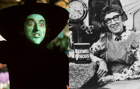 Margaret Hamilton, Wicked Witch of the West and Cora The Maxwell House Lady