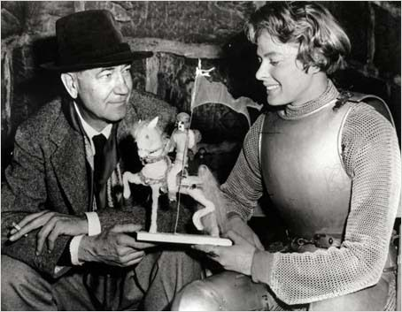 Victor Fleming and Ingrid Bergman on set of Joan of Arc