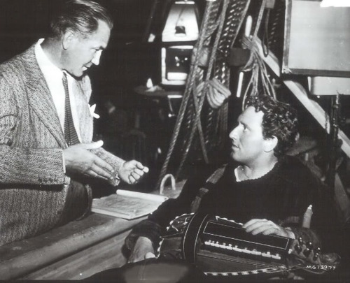 Victor Fleming with Spencer Tracy on the set of Captains Courageous
