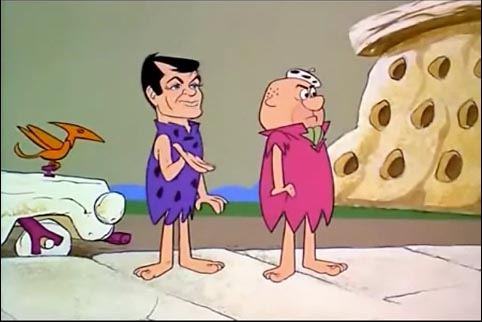 "Tony Curtis as Stony Curtis with Rocko Hemminger, The Flintstones ""The Return of Stony Curtis"""