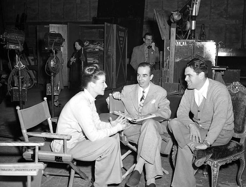 Pandro S. Berman with Katharine Hepburn & Vincente Minnelli on set of Undercurrent