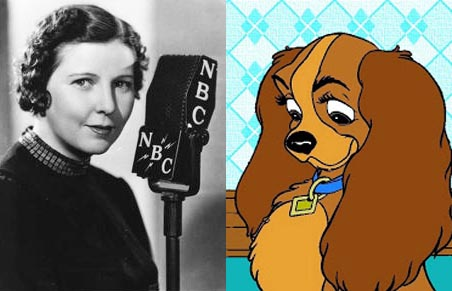 Barbara Luddy as herself and Barbara Luddy as Lady from Lady and the Tramp