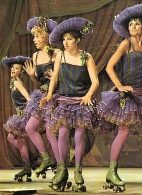 Barbra Streisand roller skates as Fanny Brice in Funny Girl