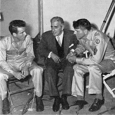 Montgomery Clift, Buddy Adler & Burt Lancaster on the set of From Here to Eternity...