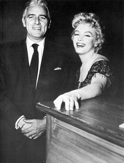 Buddy Adler and Marilyn Monroe during filming of Bus Stop