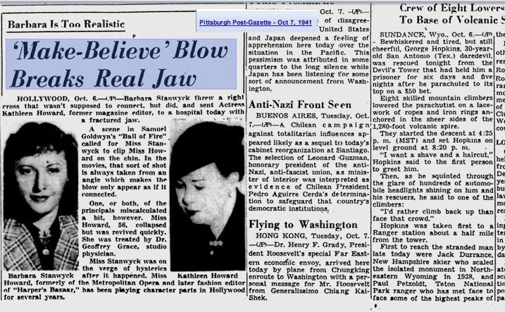 News Article Barbara Stanwyck breaks Kathleen Howard's Jaw