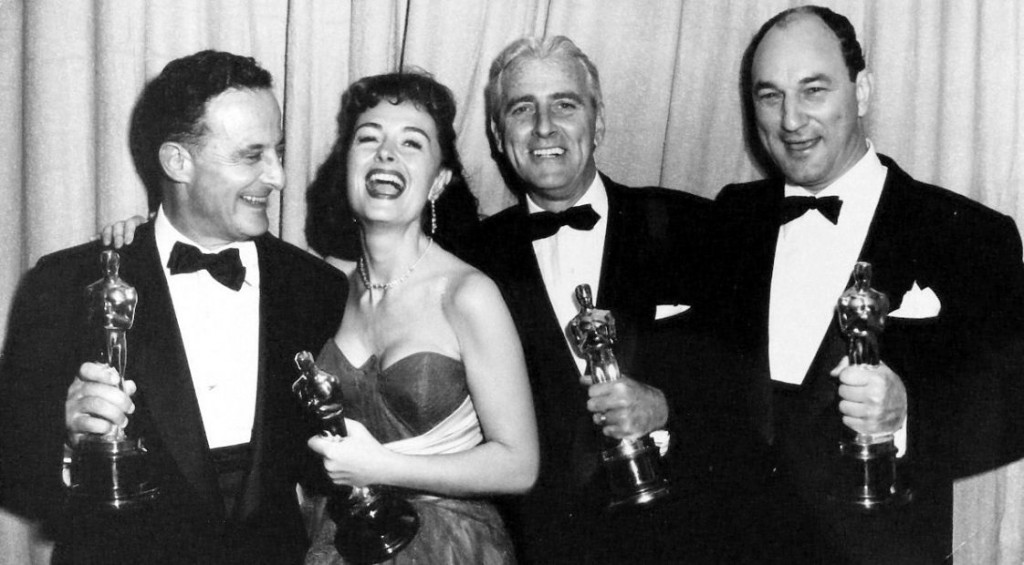 From Here to Eternity Oscar winners: director Fred Zinnemann, supporting actress Donna Reed, producer Buddy Adler and screenwriter Daniel Taradash