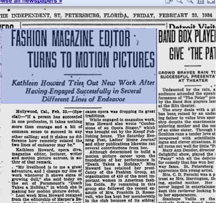 News Article Kathleen Howard from Fashion Editor to Actress