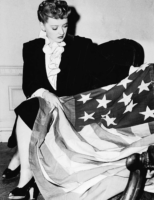 Bette Davis with Flag