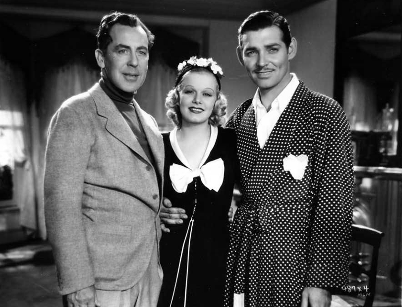 Director Jack Conway on the set of Saratoga with Jean Harlow and Clark Gable