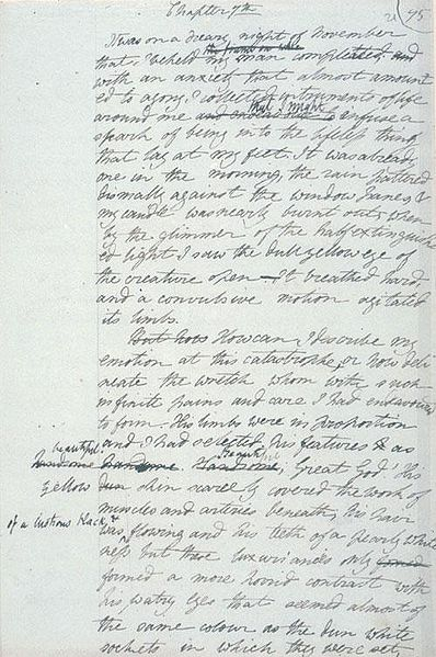 Mary Shelley's Frankenstein manuscript