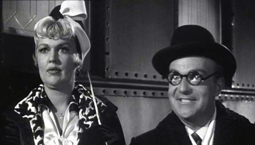 Joan Shawlee as Sweet Sue and Dave Barry as Beinstock in Some Like It Hot (1959, Billy Wilder director)