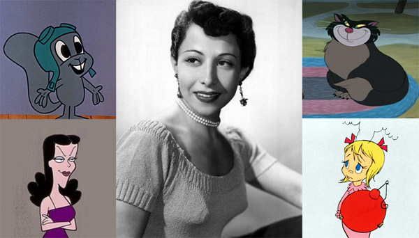 June Foray, the voice of Lucifer the Cat, Cindy Lou Who, Rocky Squirrel, Natasha Fatale