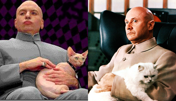 Donald Pleasence as Blofeld in You Only Live Twice and Mike Myers as Dr. Evil in Austin Powers
