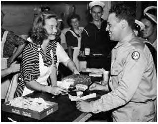 Bette Davis serving turkey, Thanksgiving