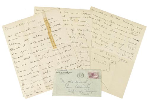 A RARE HANDWRITTEN OLIVER HARDY LETTER TCM Bonham's Auction November 25, 2013