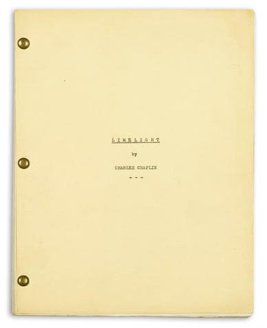 Limelight by Charlie Chaplin original screenplay; TCM Bonham's Auction November 25, 2013