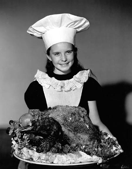 Margaret O'Brien with turkey, Happy Thanksgiving