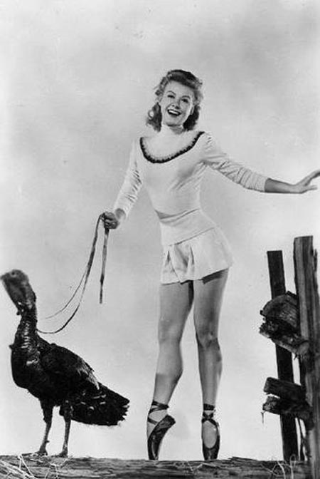 Vera Ellen with turkey, Happy Thanksgiving