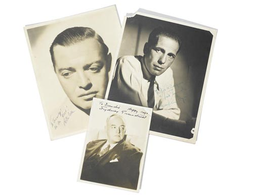 A GROUP OF SIGNED PHOTOGRAPHS OF HUMPHREY BOGART, PETER LORRE, AND SYDNEY GREENSTREET