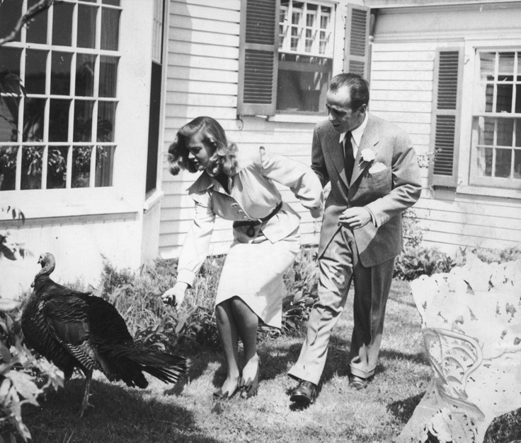Lauren Bacall and Humphrey Bogart with turkey, Thanksgiving