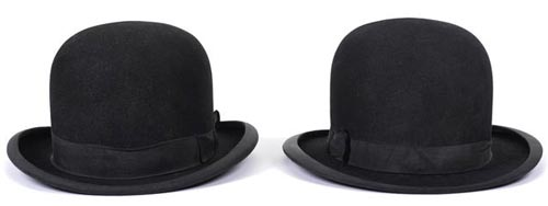 A PAIR OF LAUREL AND HARDY DERBY HATS TCM Bonham's Auction November 25, 2013