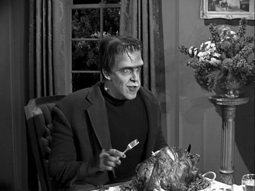 Herman Munster with turkey, Thanksgiving