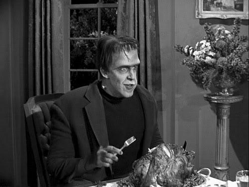 Herman Munster with turkey, Thanksgiving