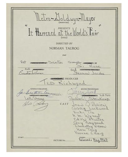 A PAGE FROM NORMAN TAUROG'S LOG BOOK FOR IT HAPPENED AT THE WORLD'S FAIR, SIGNED BY ELVIS PRESLEY TCM Bonham's Auction