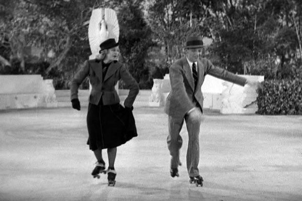 Fred Astaire and Ginger Rogers dancing on roller skates in Shall We Dance