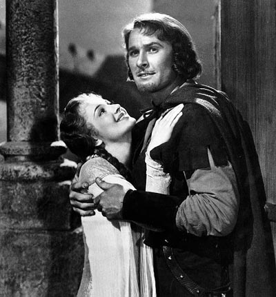 Errol Flynn and Olivia de Havilland in The Adventures of Robin Hood