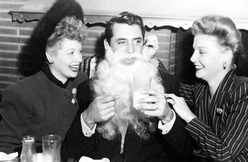 Lucille Ball, Cary Grant as Santa, and Ann Sheridan