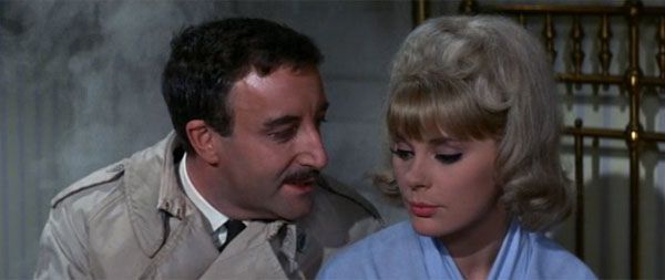 Inspector Clouseau, Peter Sellers, with Maria Gambrelli, Elke Sommer, coat on fire