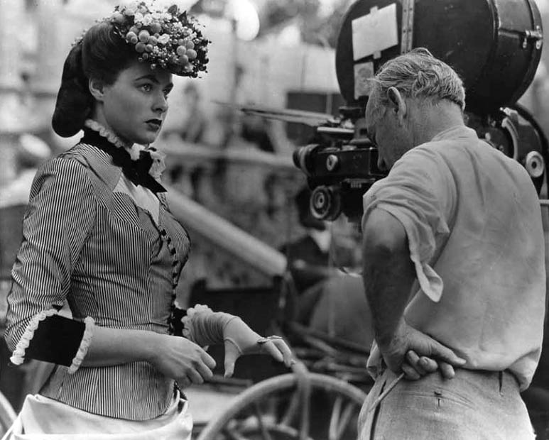 Ingrid Bergman and Sam Wood during the filming of Saratoga Trunk