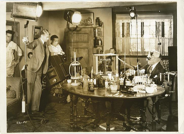 James Whale directing Claude Rains in The Invisible Man