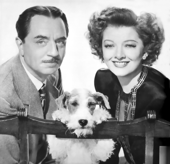 William Powell, Myrna Loy, and Astor, The Thin Man Goes Home courtesy of doctormarco.com