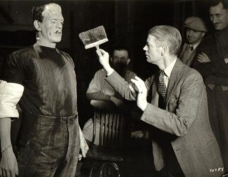 Boris Karloff and James Whale on the of The Bride of Frankenstein