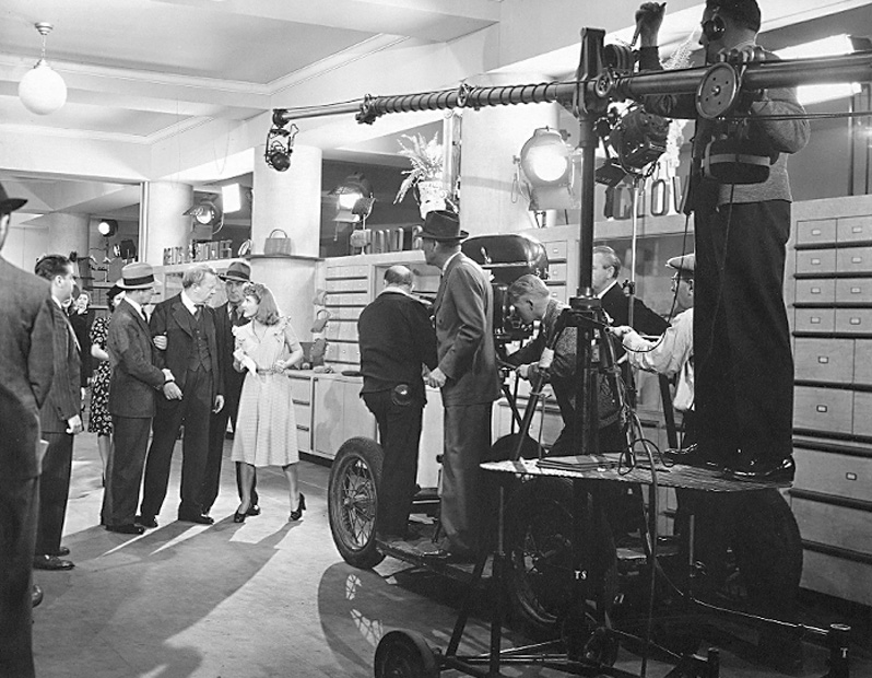charles coburn, jean arthur, sam wood on the set of The Devil and Miss Jones