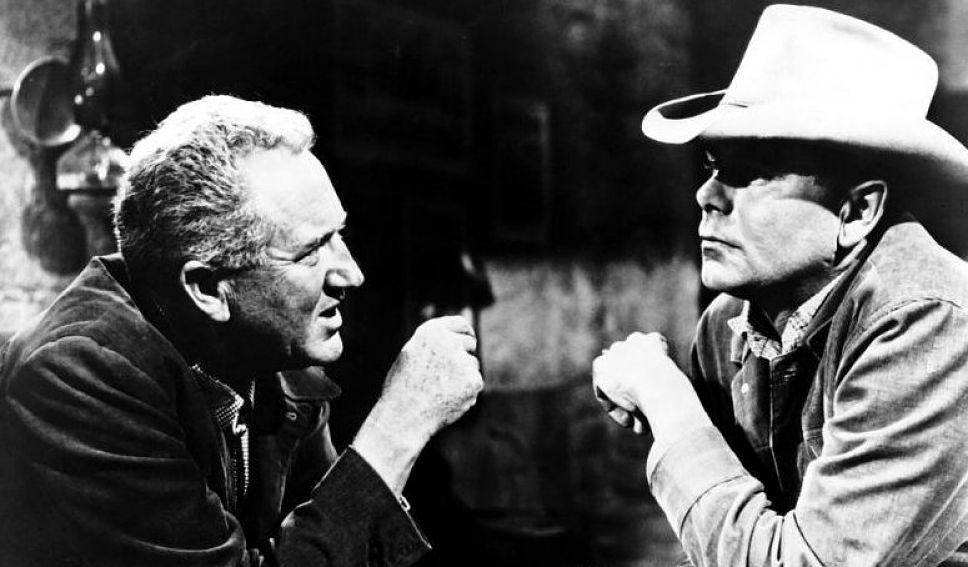 Director Delmer Daves and Glenn Ford on the set of  3:10 to Yuma, behind the scenes