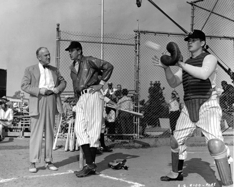 Sam Wood and Gary Cooper during the filming of The Pride of the Yankees