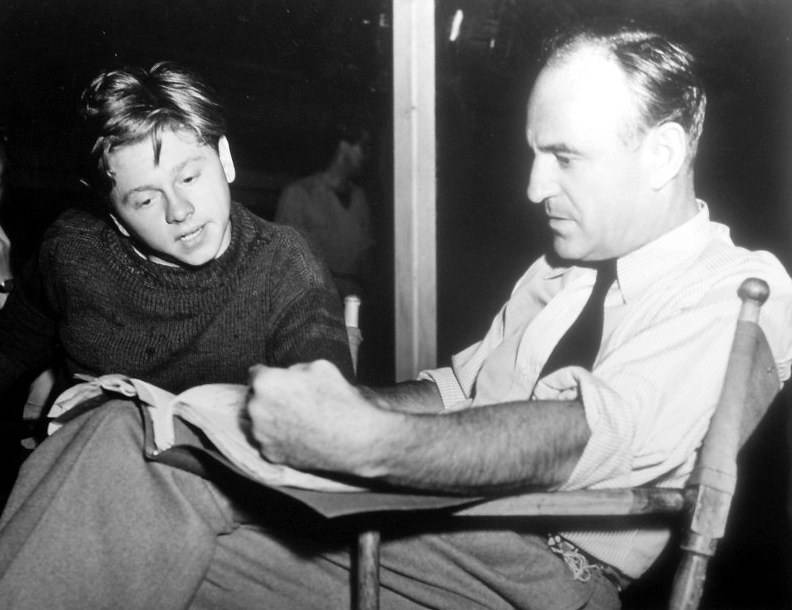 mickey rooney and sam wood on the set of stablemates