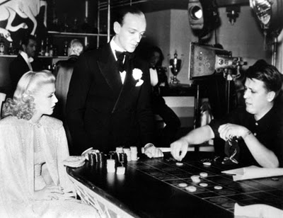 Ginger Rogers With Fred Astaire and director George Stevens on the set of Swing Time.