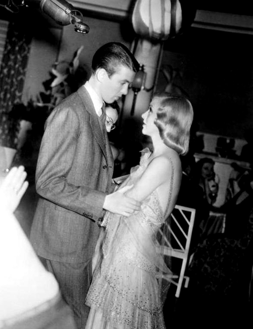Ginger Rogers with Jimmy Stewart on the set of Vivacious Lady